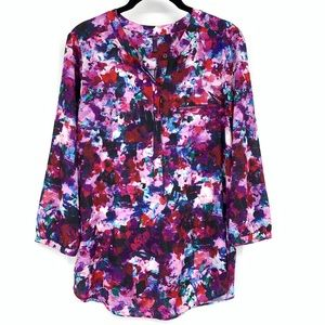 NYDJ Watercolor Floral Print Blouse Pleated Back
